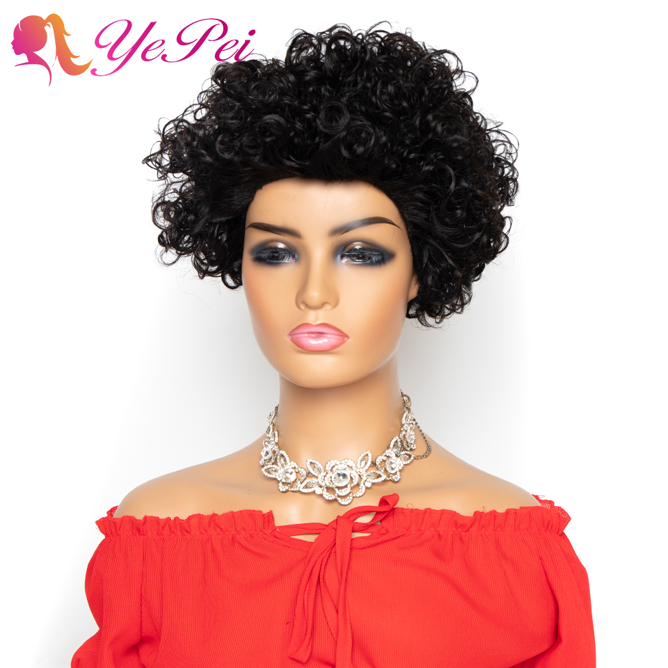 Short Curly Wig Brazilian Human Hair Wigs For Woman Glueless Remy Hair Natural Color 150% Density Short Pixie Cut Wig Yepei Hair