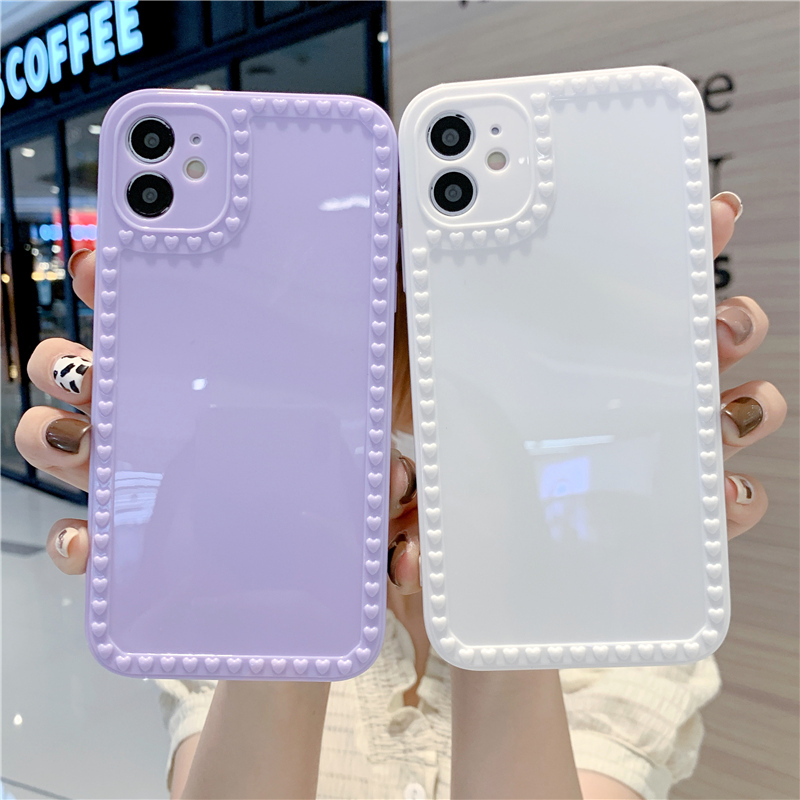 Cute 3D Love Heart Phone Case For Iphone 11 Pro 12 Pro Max 7 8 Plus XR XS Max X SE 2020 Candy Color Shockproof Soft Back Cover