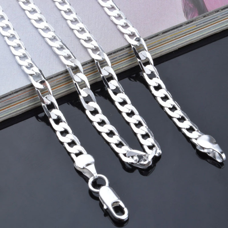 Ожерелье-цепочка Modyle мужское, плетение Фигаро, серебристого цвета, ширина 4 мм