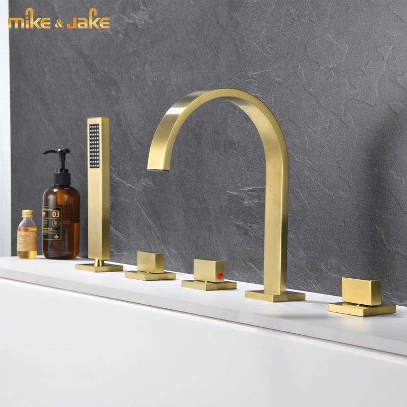 Brushed gold 5 pecs kit bathtub faucet bath cold and hot water tap bathroom mixer gold waterfall bathroom bathtub faucet suit