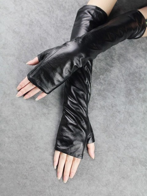 CHICEVER Autumn Black Gloves For Women Female Ladies Reveal Finger Thin Section Leather Glove Clothing Accessories Fashion New 2