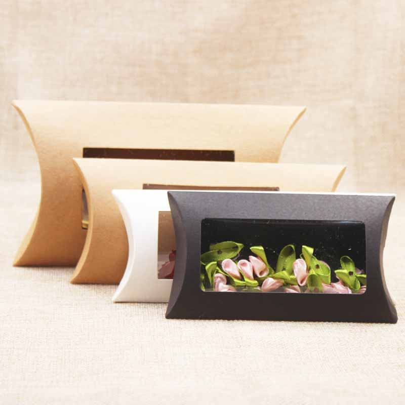 10pc 16*7*2.4cm brown/white/black cardboard pillow window box with clear pvc for proucts/gifts/favors/display packing show 5