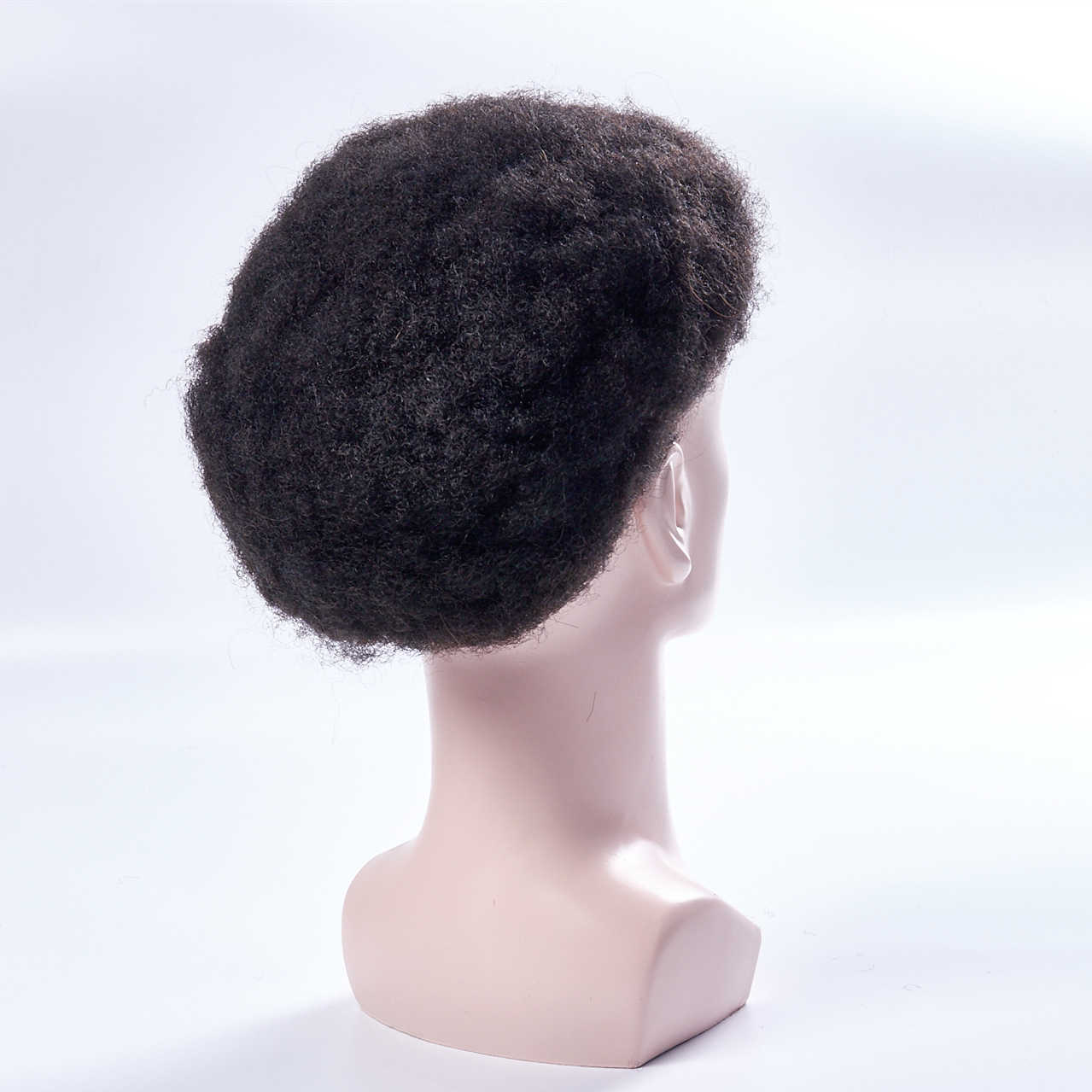 Mens Toupee Wig Full Lace Afro Kinky Curly Replacement Hair System Handmade Hairpieces Indian Human Remy Hair 6 Inch