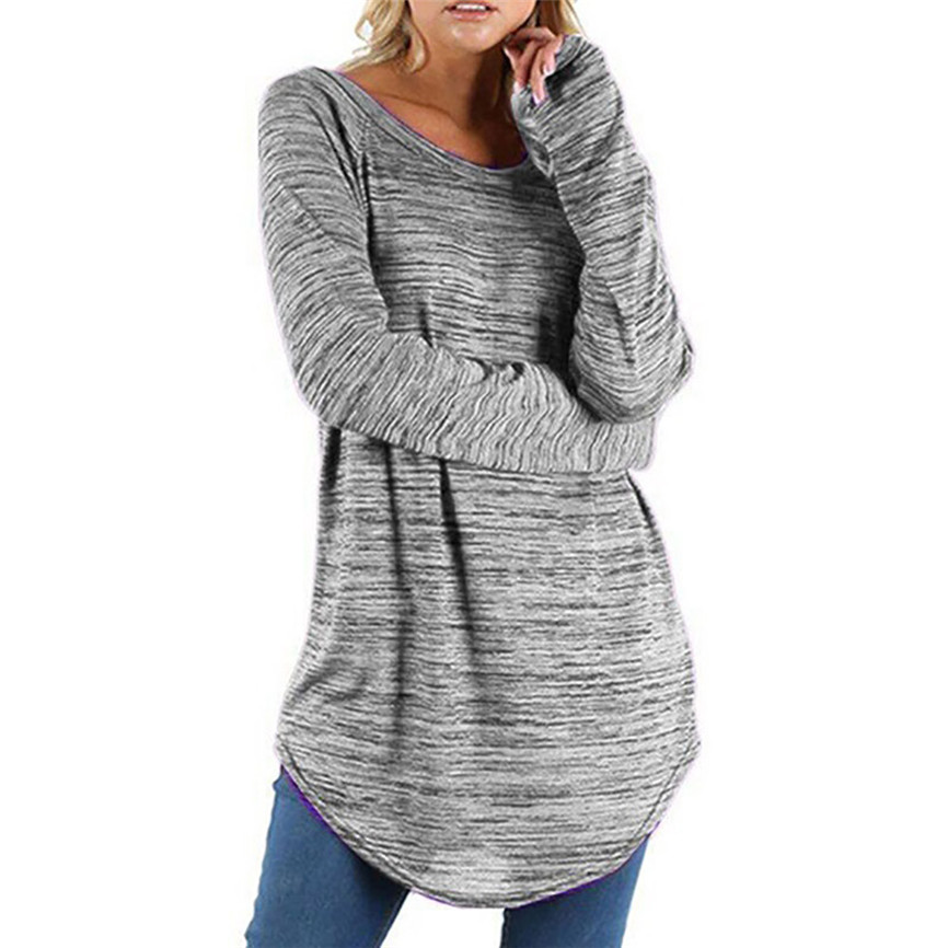 Fashion Woman Blouses 2019 Women Tops Plus Size Solid Color Roun Blouse Women Long Sleeve Blouse Pullover Elegant Pretty Shirt