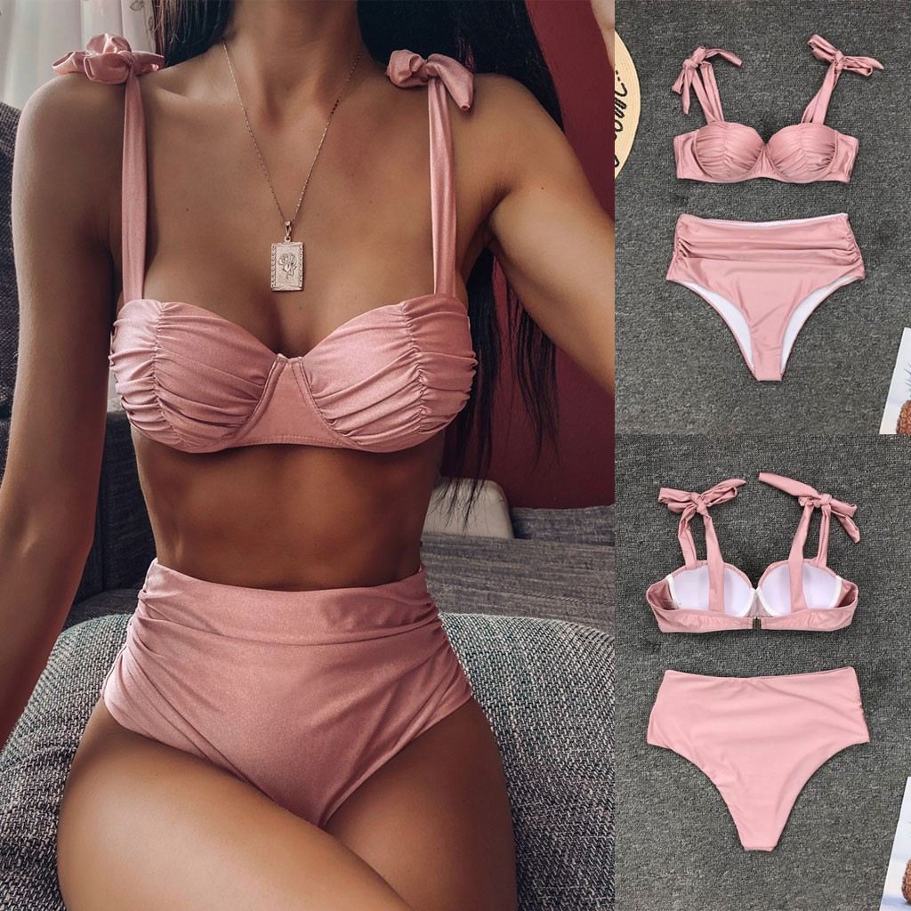 2019 Newest Female Intimates Women's Bathing Suit Solid Color Strappy Underwears Matching Lengerie Wire Free Underwear Set