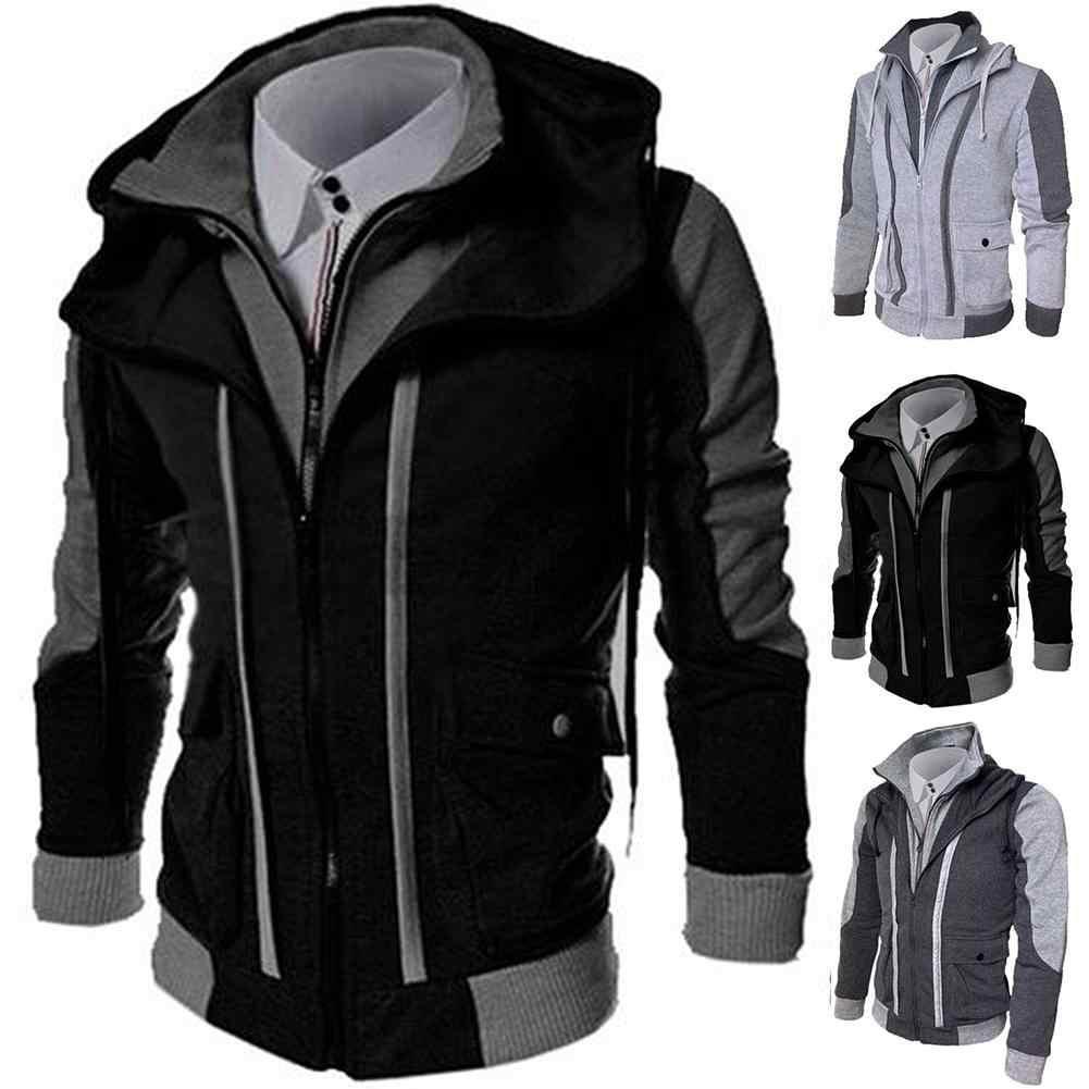 캐주얼 남성 자켓 코트 겨울 두꺼운 따뜻한 지퍼 후드 자켓 가짜 두 조각 스포츠 운동복 남성 의류 dispel cold