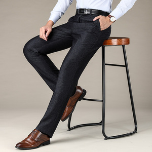 Image 2 - סגנון קלאסי גברים של ישר מכנסי קזואל 2019 החדש מודאלי בד עסקים כהה אפור משלוח חם למתוח מותג מכנסיים