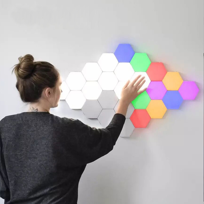 Creative Quantum Led Lamp Night Light Magnetic Hexagons Decoration Wall Lampara Hexagonal Lamps Modular Touch Sensitive Lighting