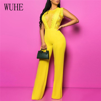 WUHE Summer Women Lace Insert Jumpsuits Sexy Mesh Patchwork Yellow Sleeveless Rompers Night Club Party Long Pants Overalls wuhe two pieces set sexy lace patchwork jumpsuits women off shoulder sleeveless bodycon bandage romper party short playsuits