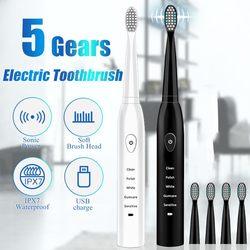 Ultra sonic sonic escova de dentes elétrica recarregável escovas de dentes lavável eletrônico branqueamento escova de dentes adulto temporizador escova