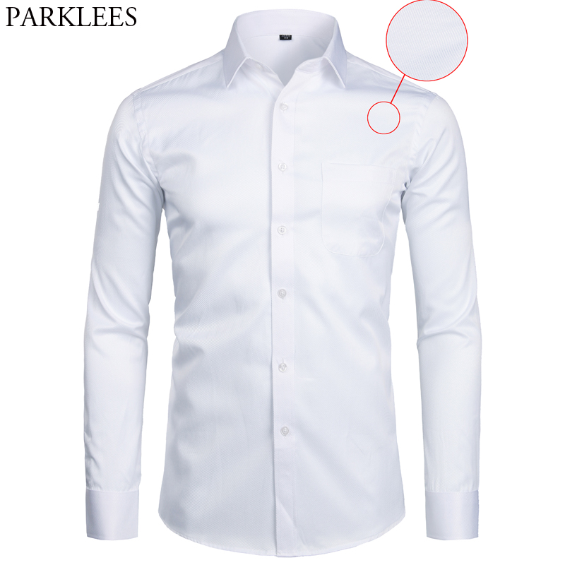 White Business Dress Shirt Men Fashion Slim Fit Long Sleeve Soild Casual Shirts Mens Working Office Wear Shirt With Pocket S-8XL 1