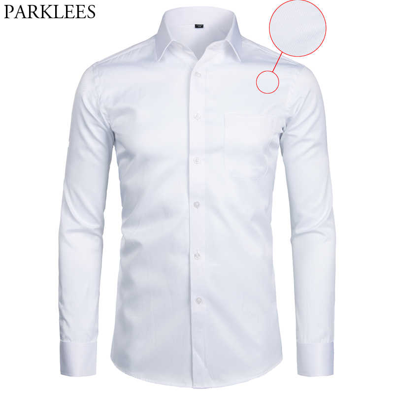 White Business Dress Shirt Men Fashion Slim Fit Long Sleeve Soild Casual Shirts Mens Working Office Wear Shirt With Pocket S-8XL