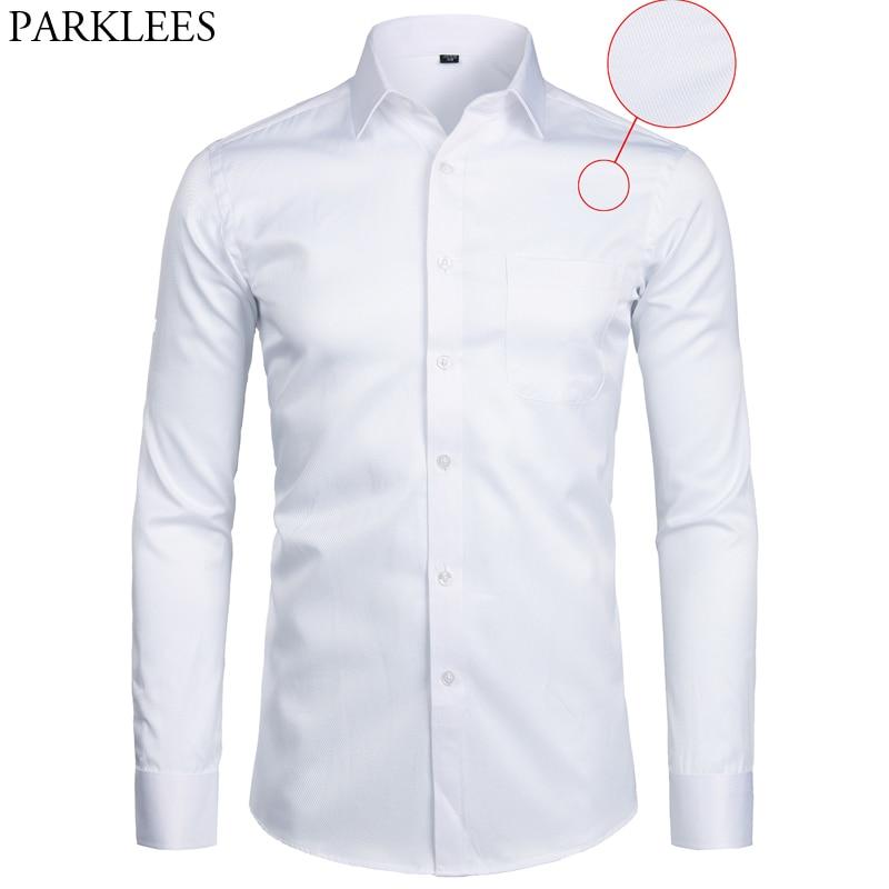 White Business Dress Shirt Men Fashion Slim Fit Long Sleeve Soild Casual Shirts Mens Working Office Wear Shirt With Pocket S-8XL