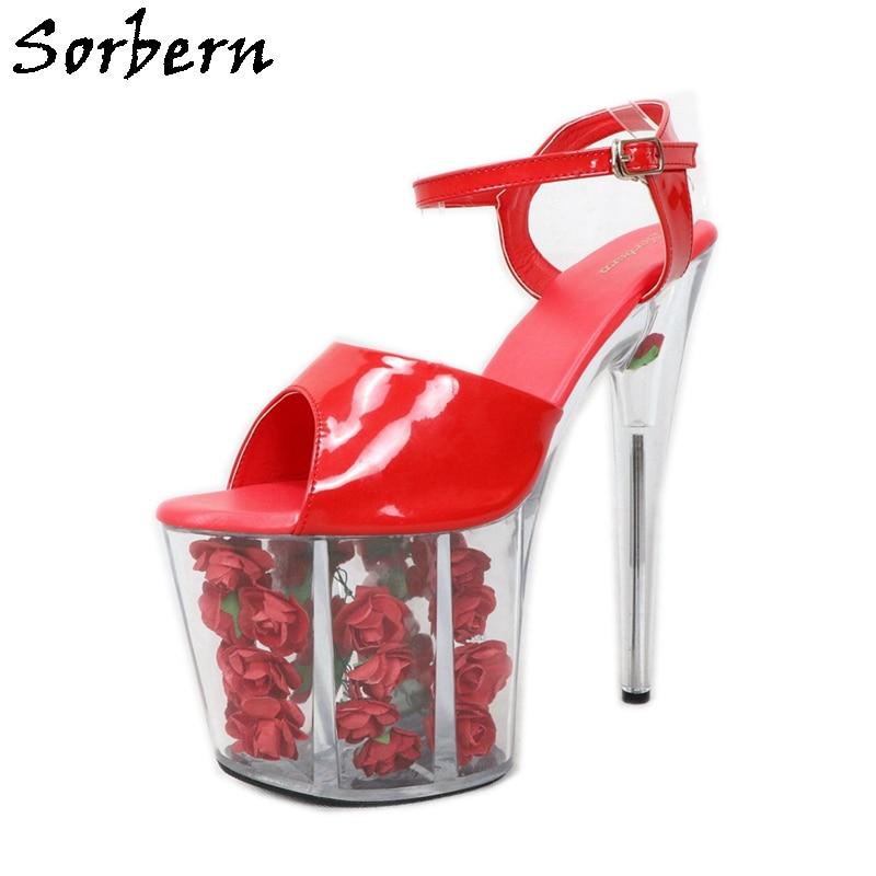 Sorbern Transparent Heels Women Sandals Designer Brand Fashion Shoes Platform Ladies Sandals Summer Sweet Party Shoes High Heels
