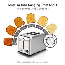 Home Full Automatic Toaster Bakery Toaster 2 Slices Slot Extra Wide Slot Toaster Stainless Steel Bread Toaster for Breakfast