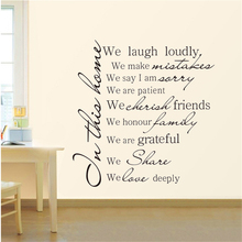 Family Rules In this house we laugh loudly... Vinyl Wall Stickers House Quotes DIY Wall Decals For Home Living Room Decoration creative removable proverbs in this house 55 8 55 8cm wall stickers for homes