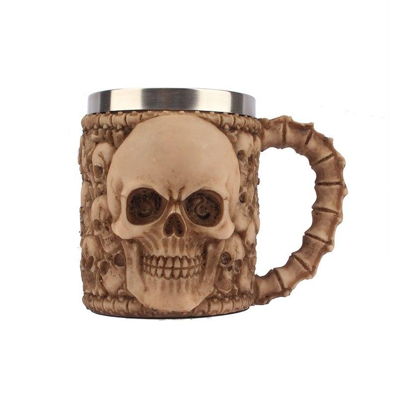 Criativo copo de café leite personalidade copo aço inoxidável grande capacidade escritório copo água 3d estéreo crânio caneca - 5