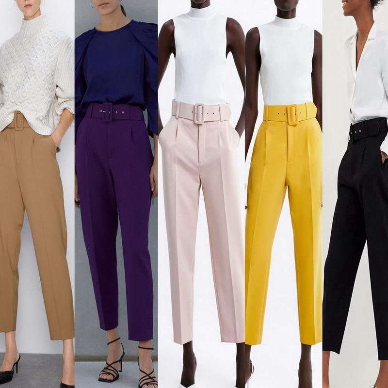 Office Lady Pants Women Bottom Autumn 2019 New Fashion Belts Candy Colors Black Camel Trouser Modern Lady Ankle-Length Capris