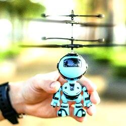 Jogo de controle de mão com luz led crianças robô design brinquedos indução infravermelha drone voando rc helicóptero ao ar livre presente mini