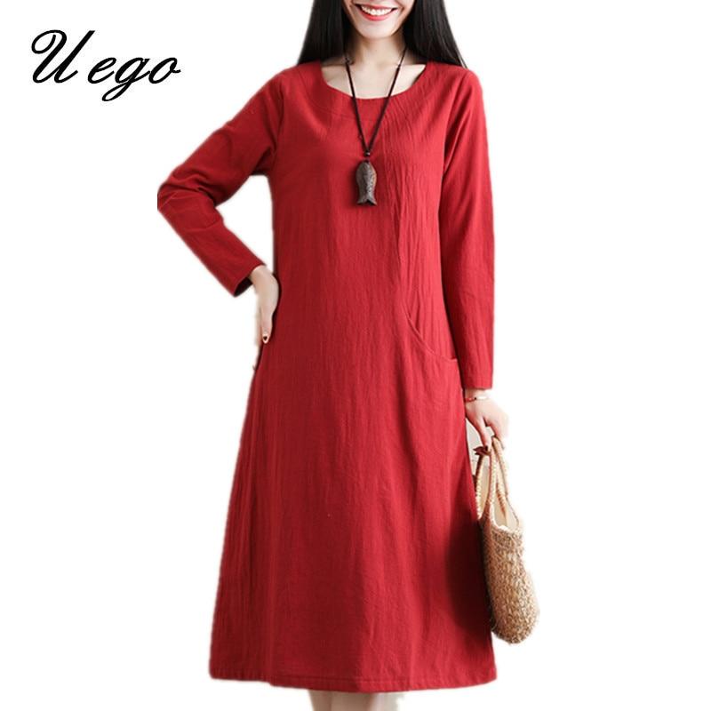 Uego 2019 New Arrival Long Sleeve Autumn Dress Soft Cotton Linen Loose Women Casual Dress Plus Size Midi Vintage Dress Robes