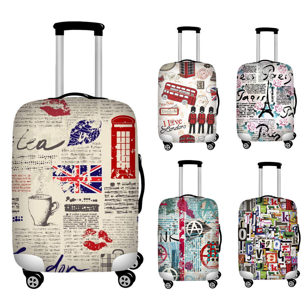 18-32 Inch Newspaper Style Travel Suitcase Protective Cover Anti-dust Trolley Case Elastic Luggage Cover Travel Accessories