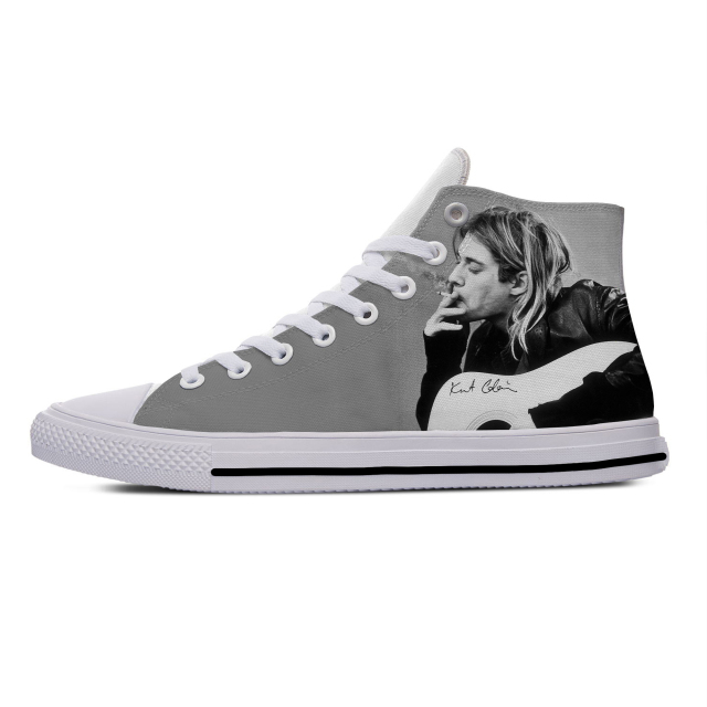 KURT COBAIN THEMED HIGH TOP SHOES (10 VARIAN)