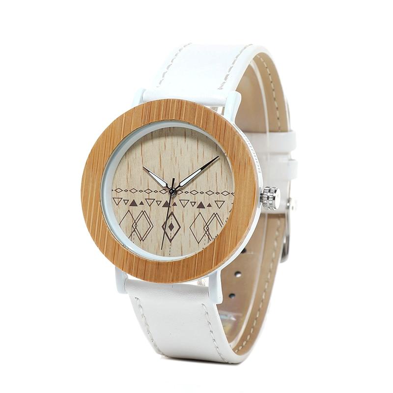 37mm Brand BOBO BIRD Watch Women Natural Wooden Watches Genuine Leather Strap Ladies Wristwatches Relogios Femininos B-E24