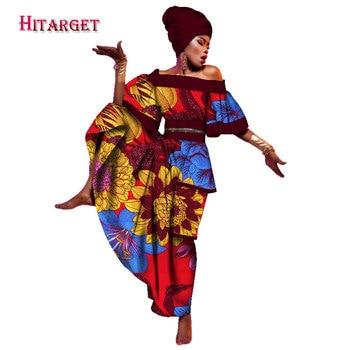 جديد 2020 فساتين افريقية للنساء فستان داشيكي مطبوع و ربطة راس افريقية غير رسمية ملابس هندية تقليدية حجم كبير WY2106