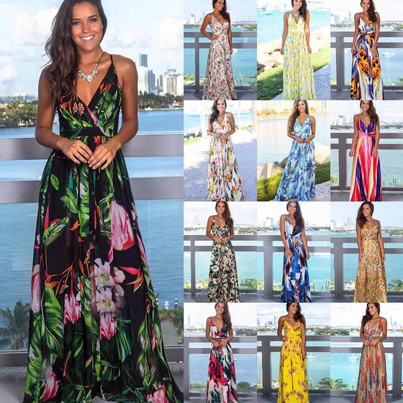 Kadın Sling çiçek uzun elbiseler varış 2020 yaz Boho v yaka kolsuz akşam parti plaj Maxi elbise Casual Sundress