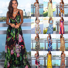 Women's Sling Floral Long Dresses arrival 2020 Summer Boho V-Neck Sleeveless Evening Party Beach Maxi Dress Casual Sundress(China)