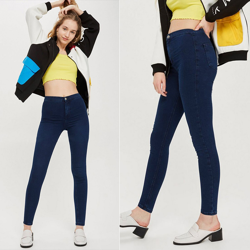 Stretchy Skinny Women Jeans Black Pencil Pants Casual 2019 Nes High Waist Mom Jeans Full Length Blue Ladies Push Up White Denim