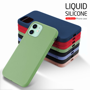 Luxury Liquid Silicone Back Cover For Apple iPhone 12 mini Case Aifon 11 Pro Max X XS XR 6 7 8 Plus Shockproof Phone Coque Funda image