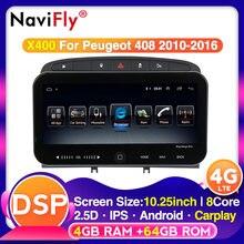 10,25 pulgadas Android GPS para coche Naviagtion reproductor de radio 4G LTE para Peugeot 308, 408, 2010-2016 DSP WIFI carplay OBD Multimedia