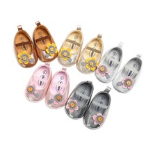 Fashion Baby PU Leather Baby Girl Shoes Flower Soft Soled Non-slip Baby Sweet Kids Girls Shallow First Walkers Princess Shoes недорого