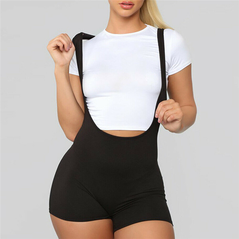 Casual Sporty Active Wear Backless Playsuit Sexy Push Up Strap Rompers Womens Jumpsuit Bib Pants Workout Fitness Biker Playsuits