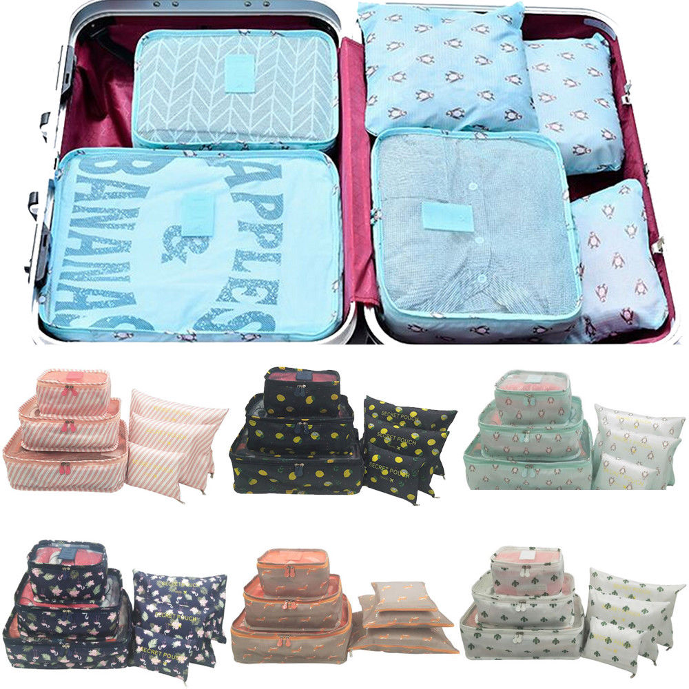 6Pcs Waterproof Travel Clothes Storage Bags Portable Luggage Organizer Pouch Packing Cube 6 Styles Drop Shipping