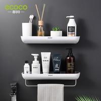 ECOCO Bad Regale Organizer Wand Montieren Hause Handtuch regal Shampoo Rack Mit Handtuch Bar Lagerung Rack Bad Zubehör