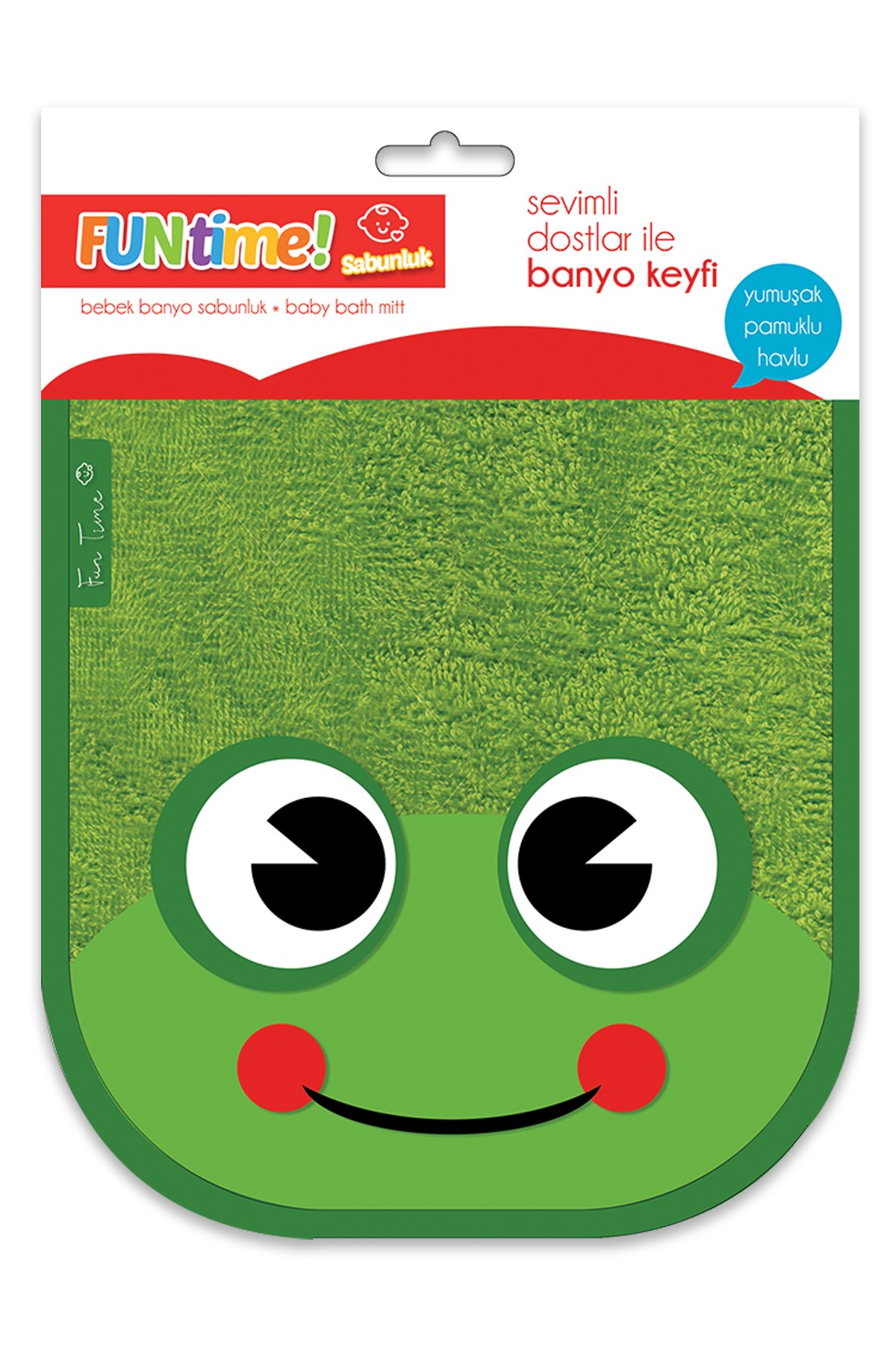 Fun Time % 100 Cotton Soap Glove Cute Frog For Babies And Kids