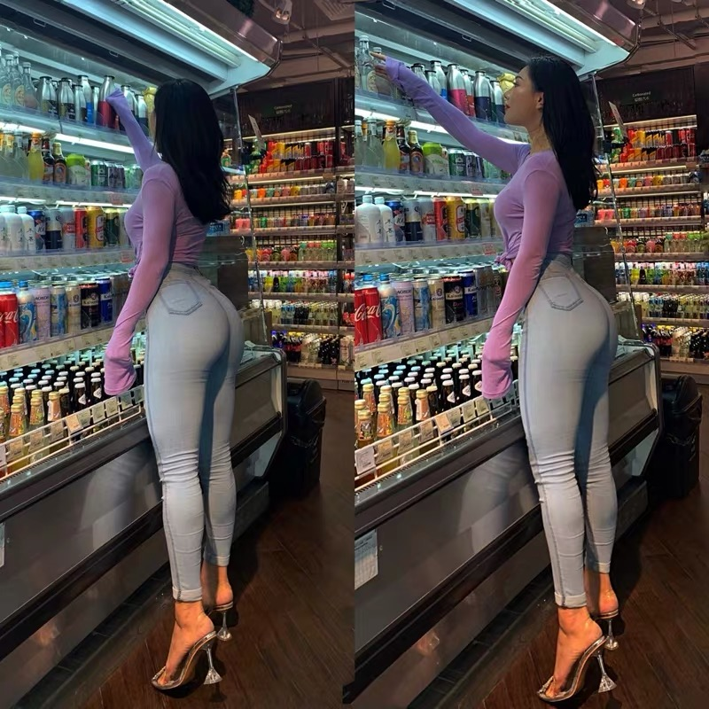 High waisted jeans women spring autumn sexy tight hip lifting Leggings high elasticity slim pants fashionable and versatile 2