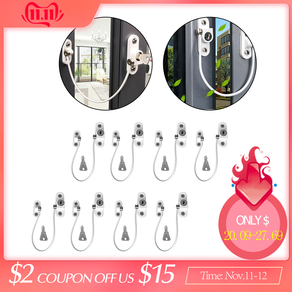 8Pcs Window Locks Children Protection Lock Stainless Steel Window Limiter Baby Safety Infant Security Window Locks Products