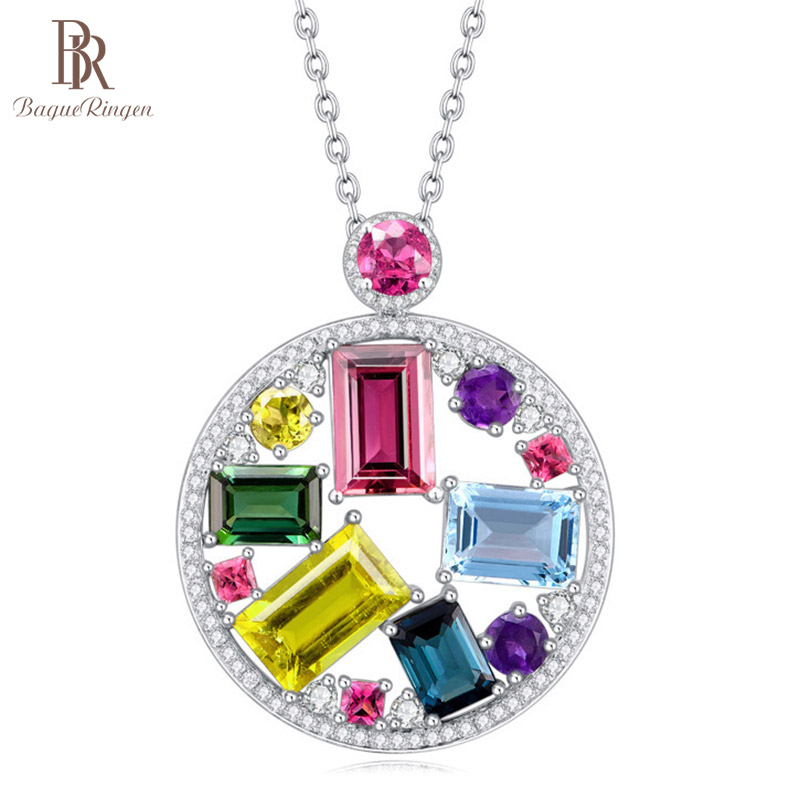 Bague Ringen Colorful Jewel Round Pendant Sterling Silver 925 Jewelry For Women Rectangle Gemstones Business Weddings Wholesale