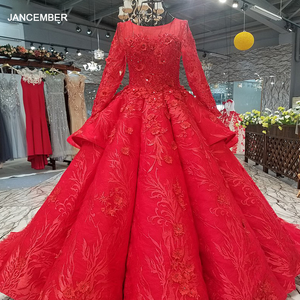 Image 1 - LS2771 red brides wedding party dresses with peplum o neck long tulle sleeve lace up back beauty cheap evening dress real price