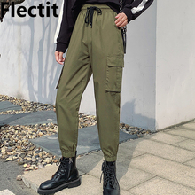 Flectit Utility Jogger Pants For Women Cargo-Style Pocket Ankle-Length Pants Plus Size S- XXXL Female Trousers * cheap COTTON 00412 Plaid Military Cargo Pants Pleated REGULAR Ages 16-28 Years Old Pockets Woven Drawstring