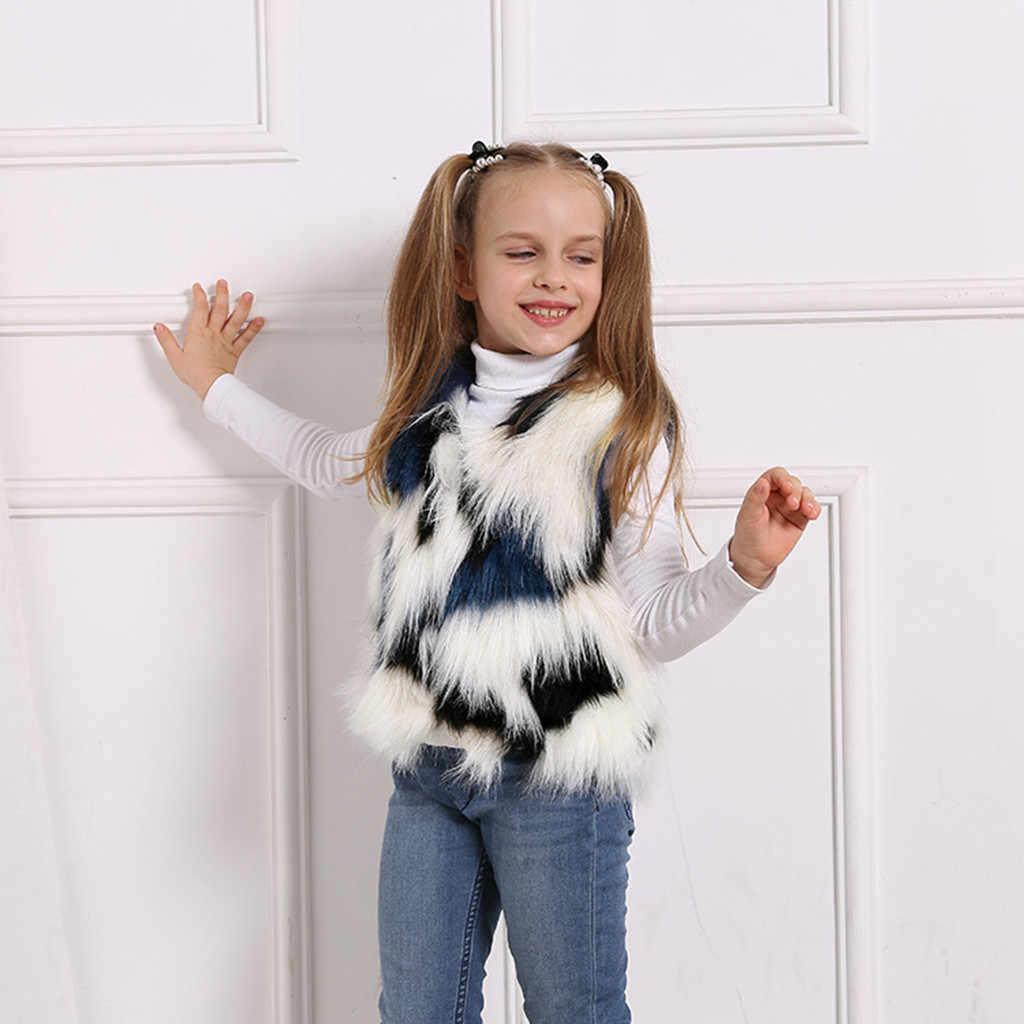 Kız ceketler yürüyor çocuk bebek kız kış sıcak ekleme Faux kürk kalın ceket dış giyim yelek kurtka dziewczynka