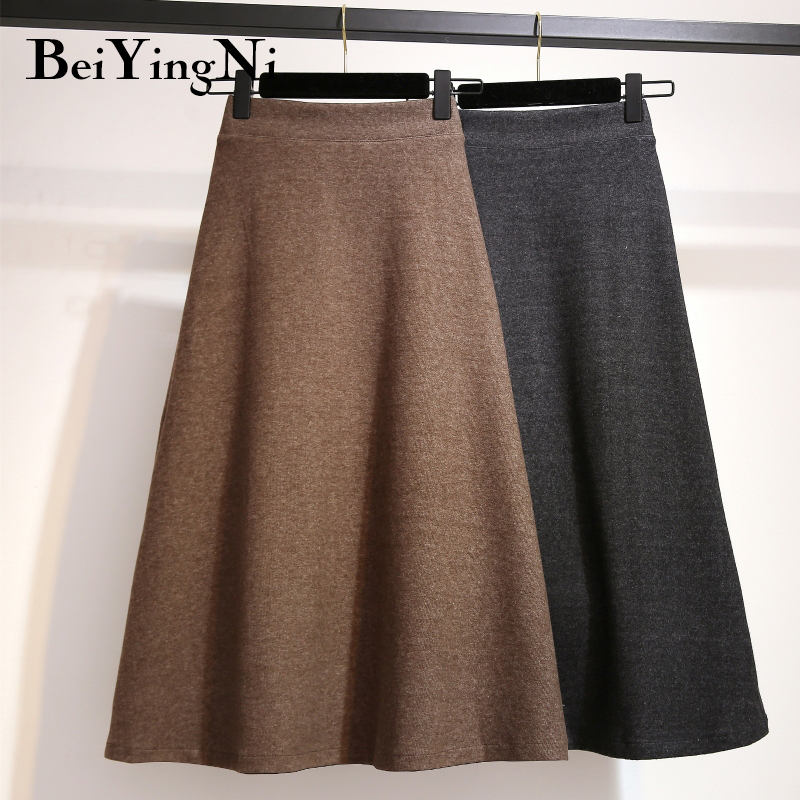 Beiyingni Autumn Knitted High Waist Skirt Women Large Size Vintage Office Lady Faldas Casual Simple A-line Skirts Saia Midi Warm