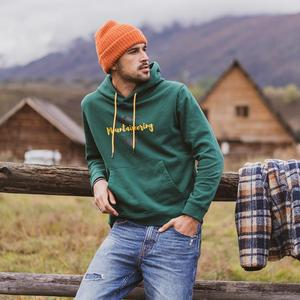 Image 3 - SIMWOOD 2020 Herbst winter neue mit kapuze hoodies 100% baumwolle brief Berg druck kontrast farbe sweatshirts plus größe SI980565