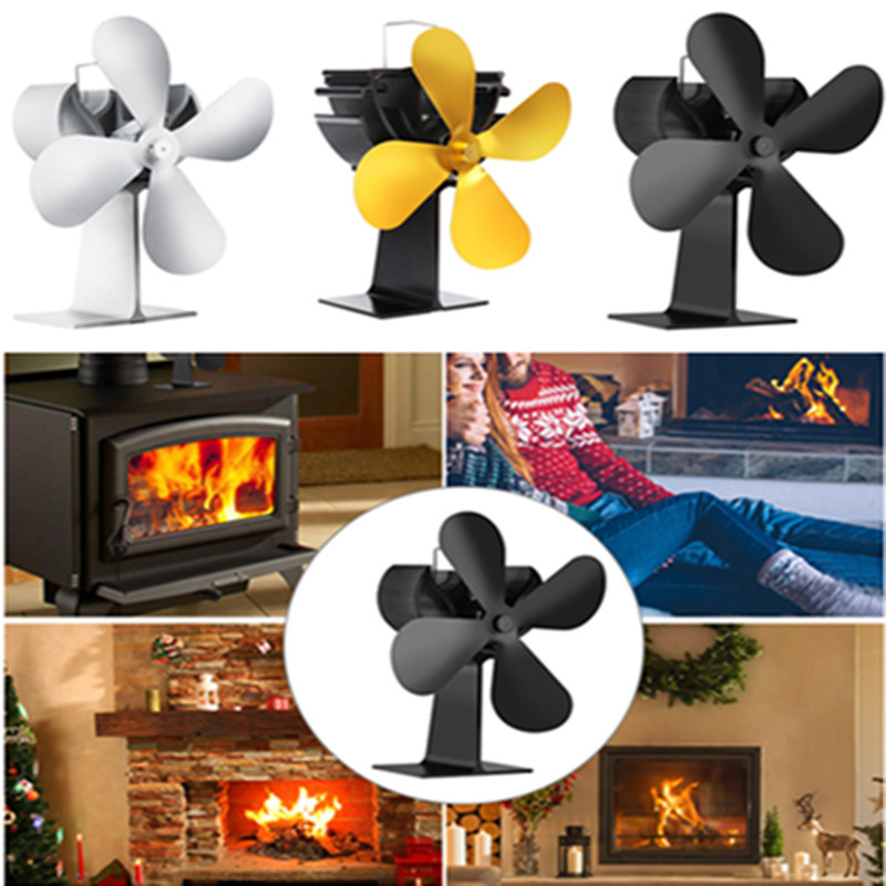 New 4 Blades Fireplace Heat Powered Stove Fan Efficient Heat Distribution Log Wood Burner Thernal Stove Fan Hand Warner For Home