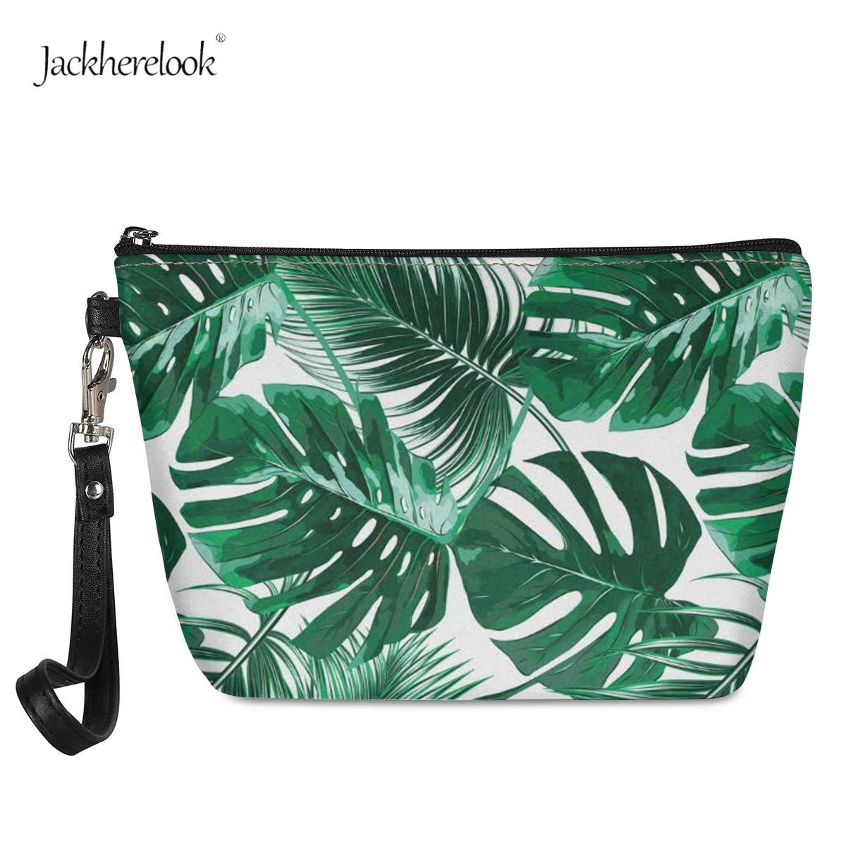 Jackherelook Green Leaves Cosmetic Bag Tropical Style Palm Tree Leaf Print Leather Makeup/Toiletry Pouch For Travelling Outdoor