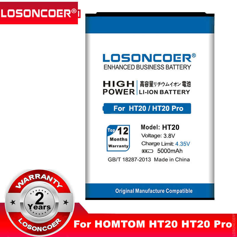 LOSONCOER 5000mAh HT20 For HOMTOM HT20 HT20 Pro Mobile Phone Battery Batterie Bateria Accumulator AKKU+Quick Arrive(China)