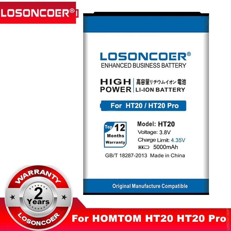 LOSONCOER 5000mAh HT20 For HOMTOM HT20 HT20 Pro Mobile Phone Battery Batterie Bateria Accumulator AKKU+Quick Arrive(China)